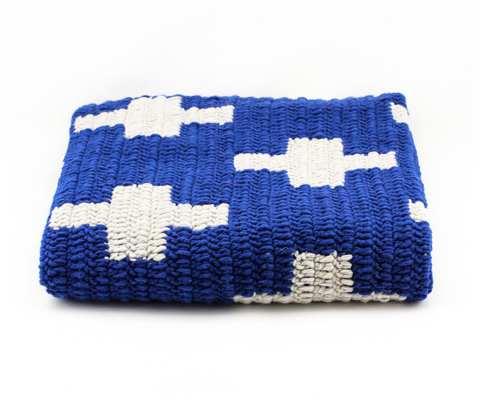 Cross Blanket Navy Blue and White - Close Up