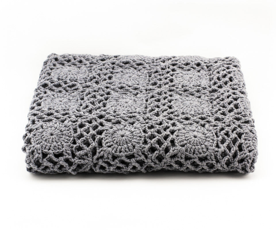 Crochet Blanket Grey - Closeup