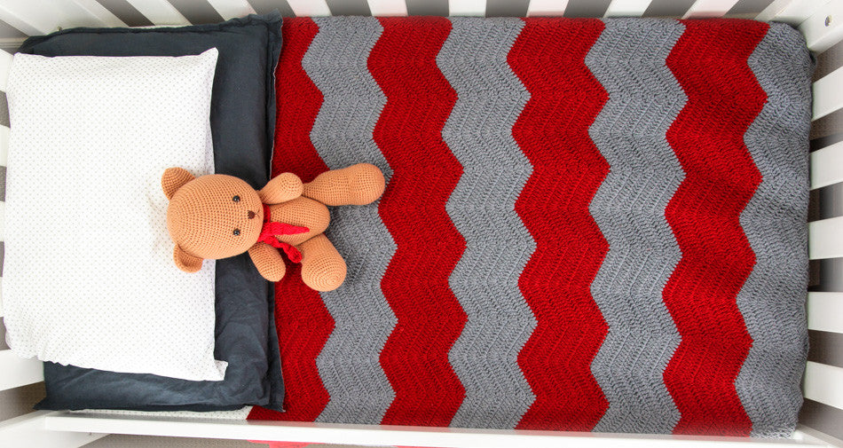Chevron Blanket Red and Grey - In Cot