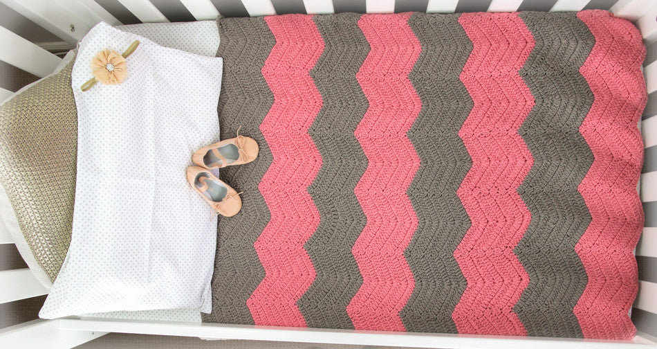Chevron Blanket Pink and Grey - In Cot