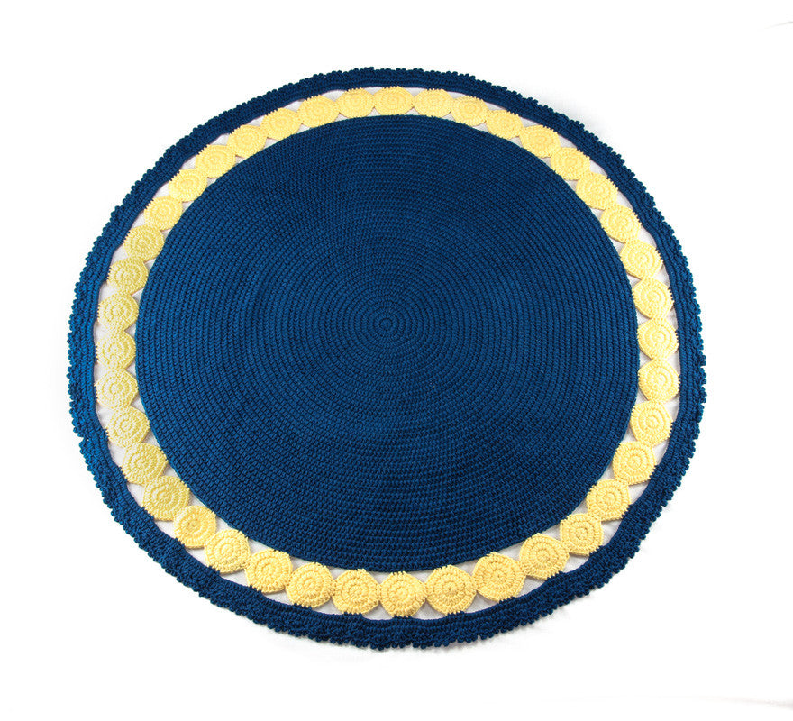 Circle Rug Navy and Yellow - Full