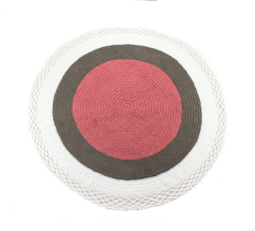 Circle Rug White Grey and Pink - Full