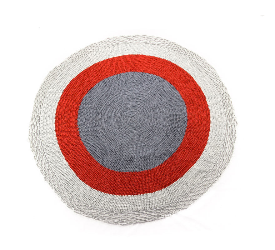 Circle Rug White Grey and Orange - Full
