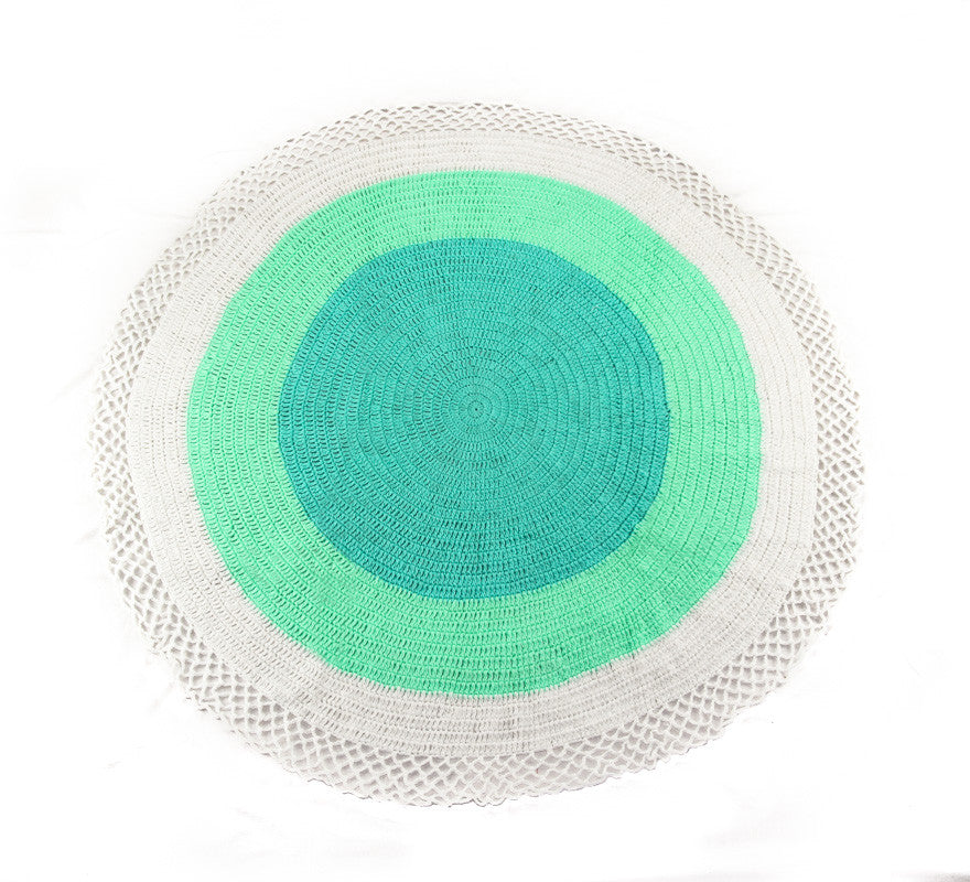 Circle Rug White Blue and Turquoise - Full