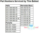 HID / Xenon ballast - HID215 5DC 009 060 - Part Numbers
