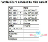 HID / Xenon ballast - HID217 LVQ212 - Part Numbers