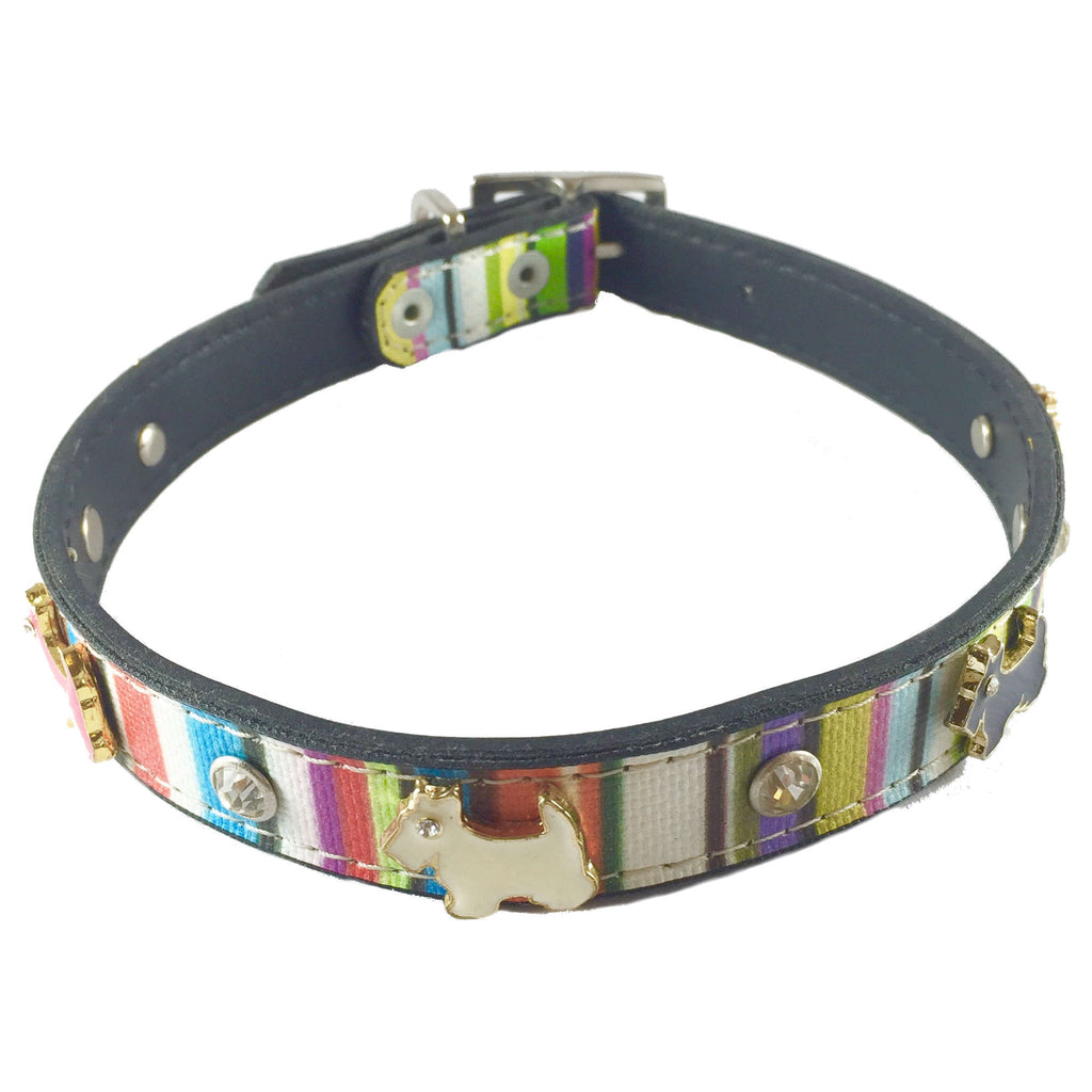 FurryMob Dog & Cat Collar - Chromatic Stripes with Stud Detail