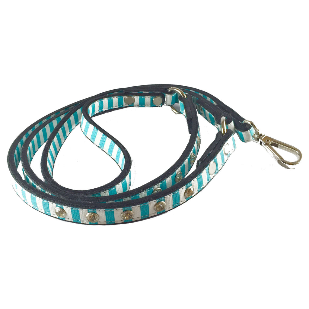 FurryMob Design Leash - Blue & White Stripes with Stud Detail