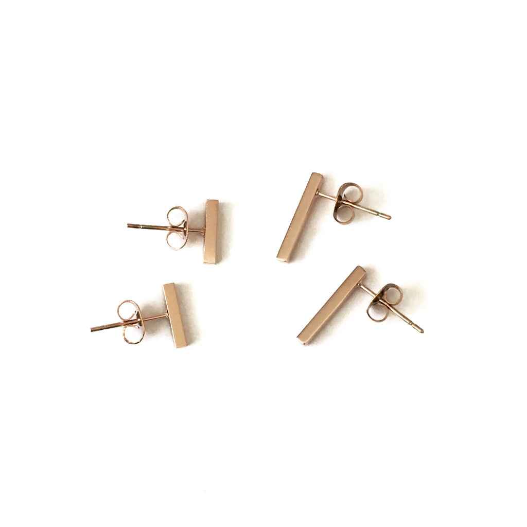 Rose Gold Bar Studs-Suradesires-Suradesires