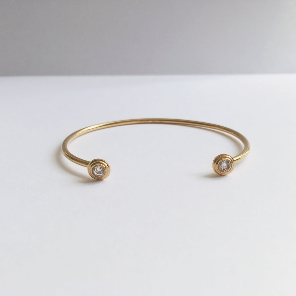 Crystal Dot Cuff Bangle-Suradesires-Gold-Suradesires