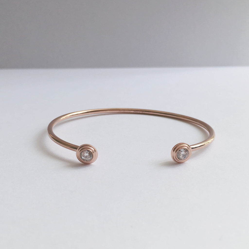 Crystal Dot Cuff Bangle-Suradesires-Rose Gold-Suradesires