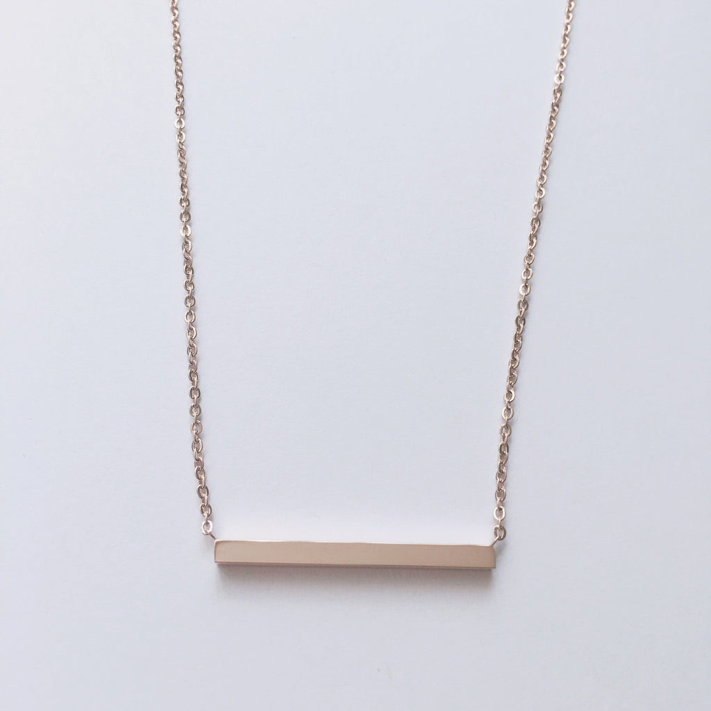 Rose Gold Bar Necklace - Suradesires - 2