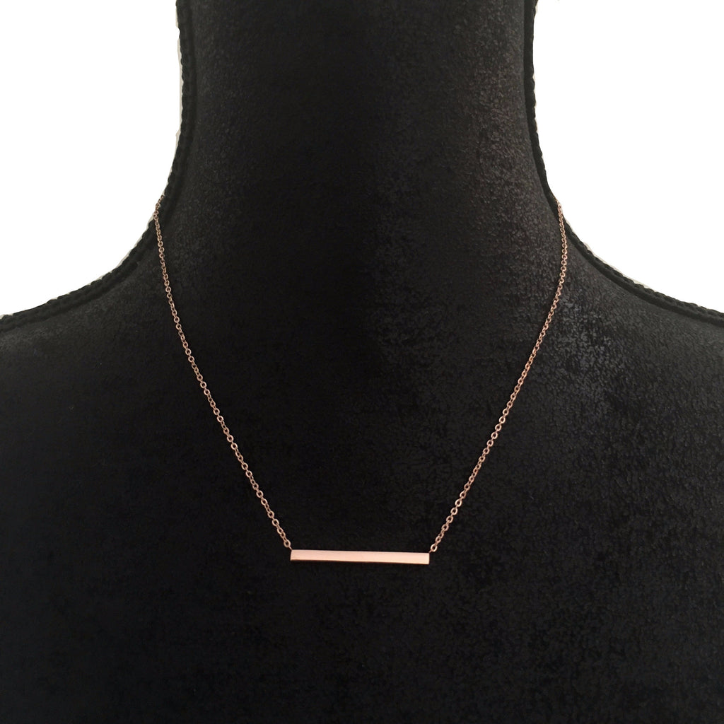 Rose Gold Bar Necklace - Suradesires - 1