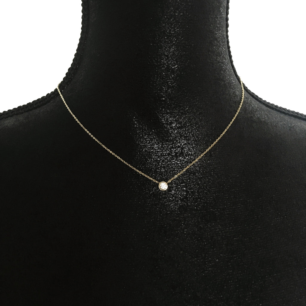 Crystal Solitaire Necklace-Suradesires-Gold-Suradesires