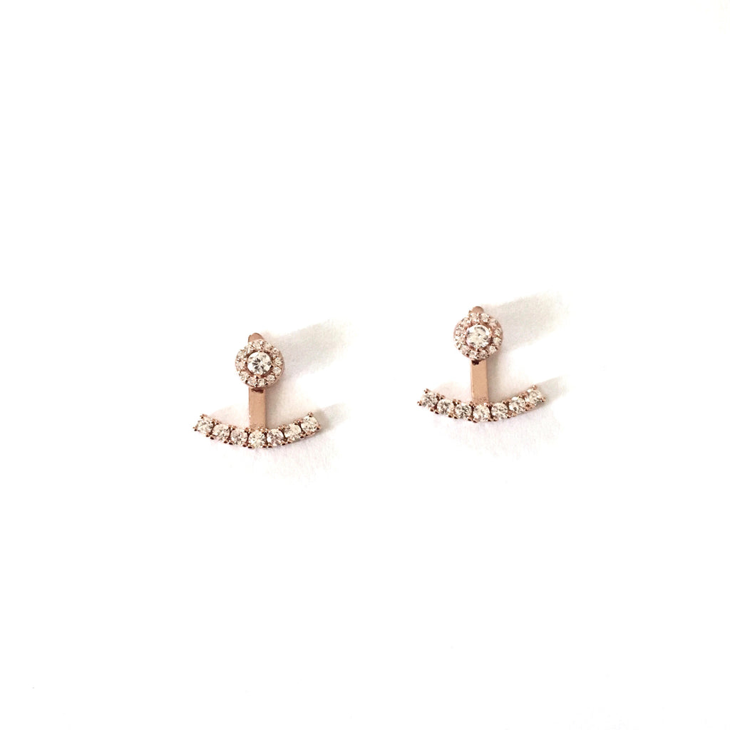 Crystal jacket earrings-Suradesires-Rose Gold-Suradesires