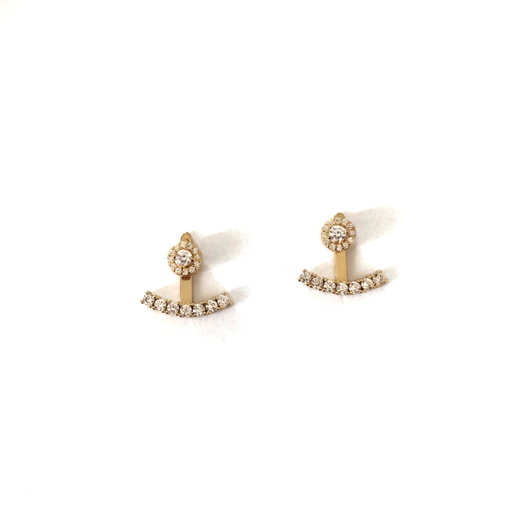 Crystal jacket earrings-Suradesires-Gold-Suradesires
