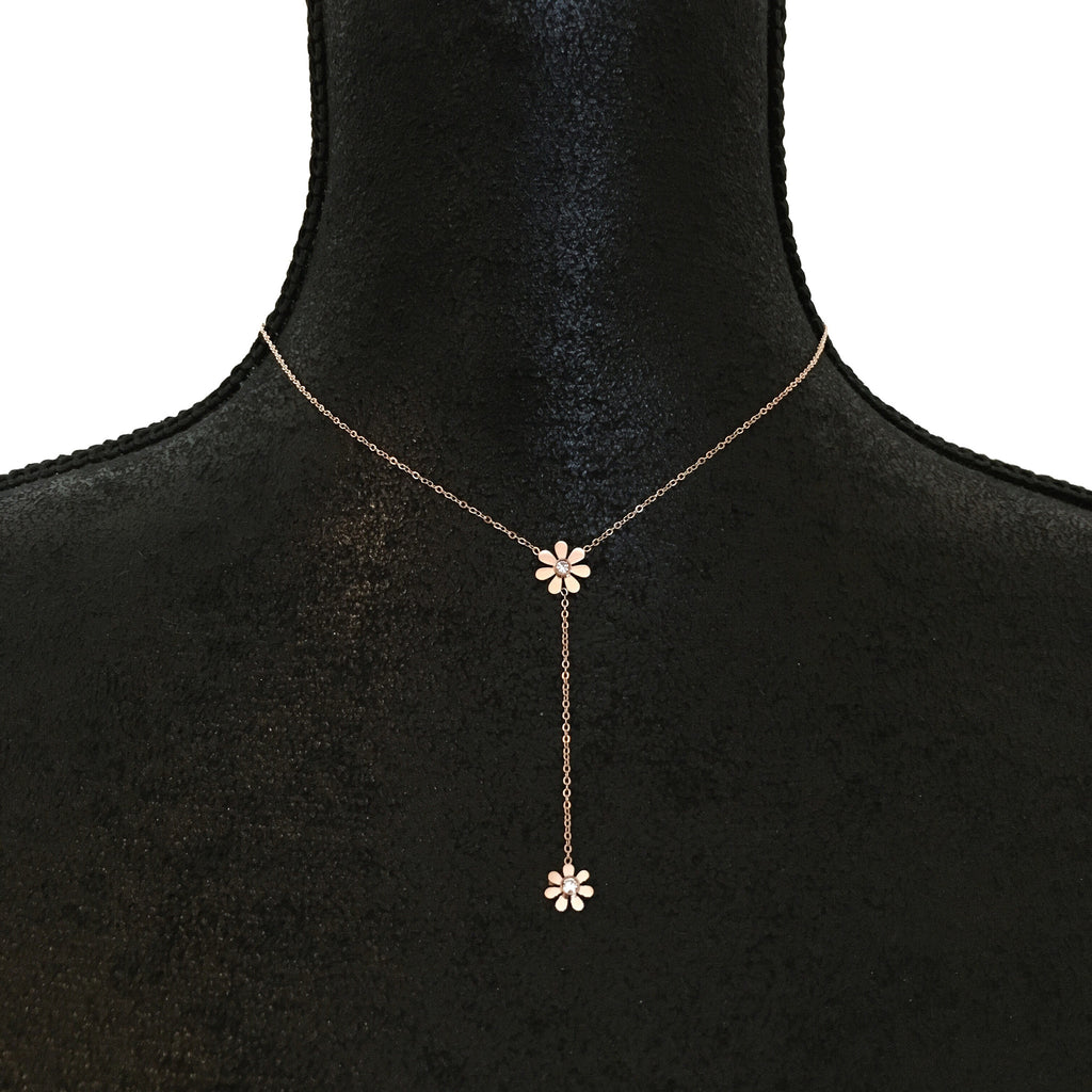Daisy Crystal Lariat Necklace - Rose Gold-Suradesires-Suradesires