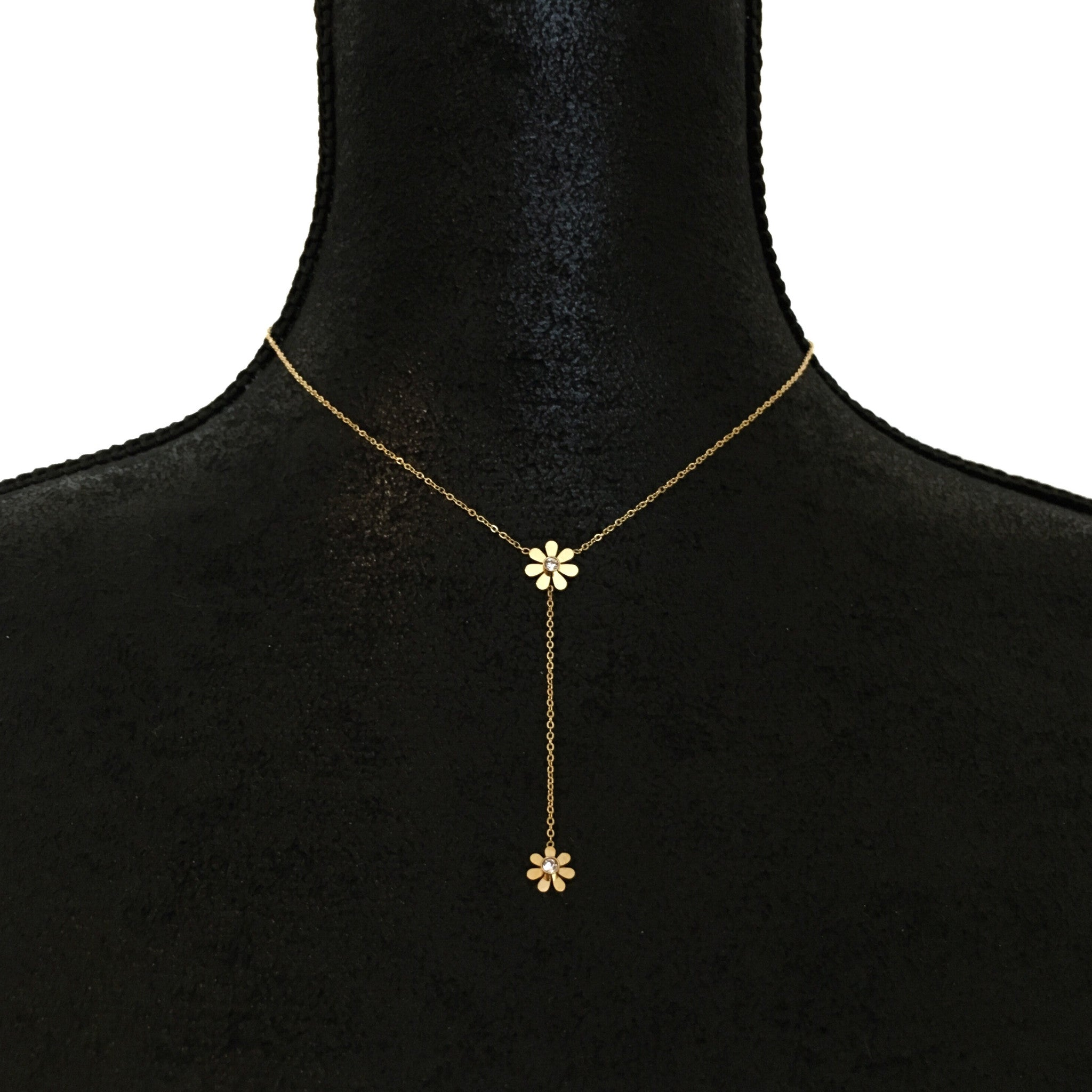 gold res ladies long hi daisy necklace wire