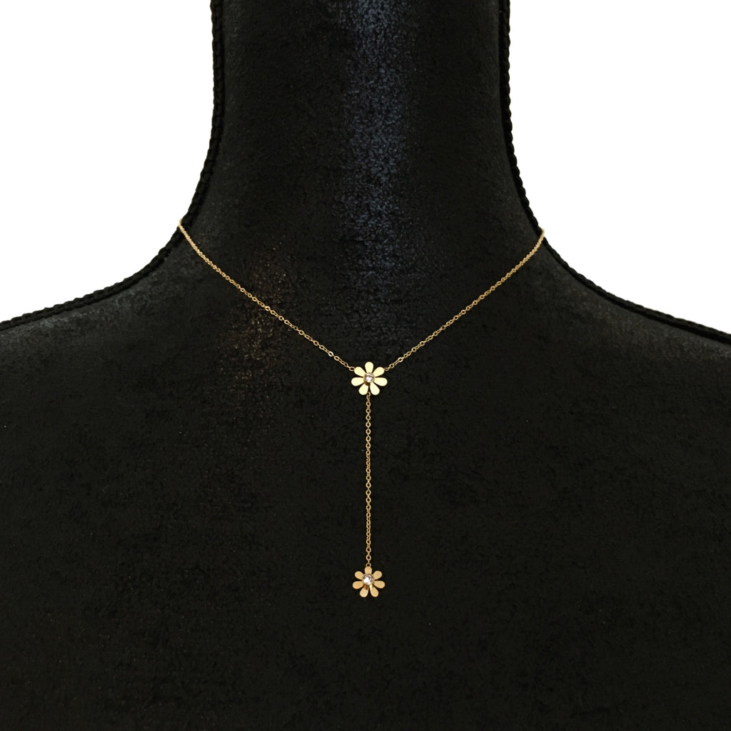 Daisy Crystal Drop Necklace - Gold - Suradesires - 1