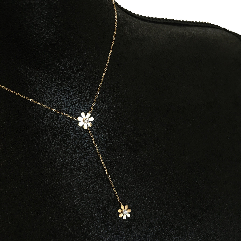 Daisy Crystal Drop Necklace - Gold - Suradesires - 2