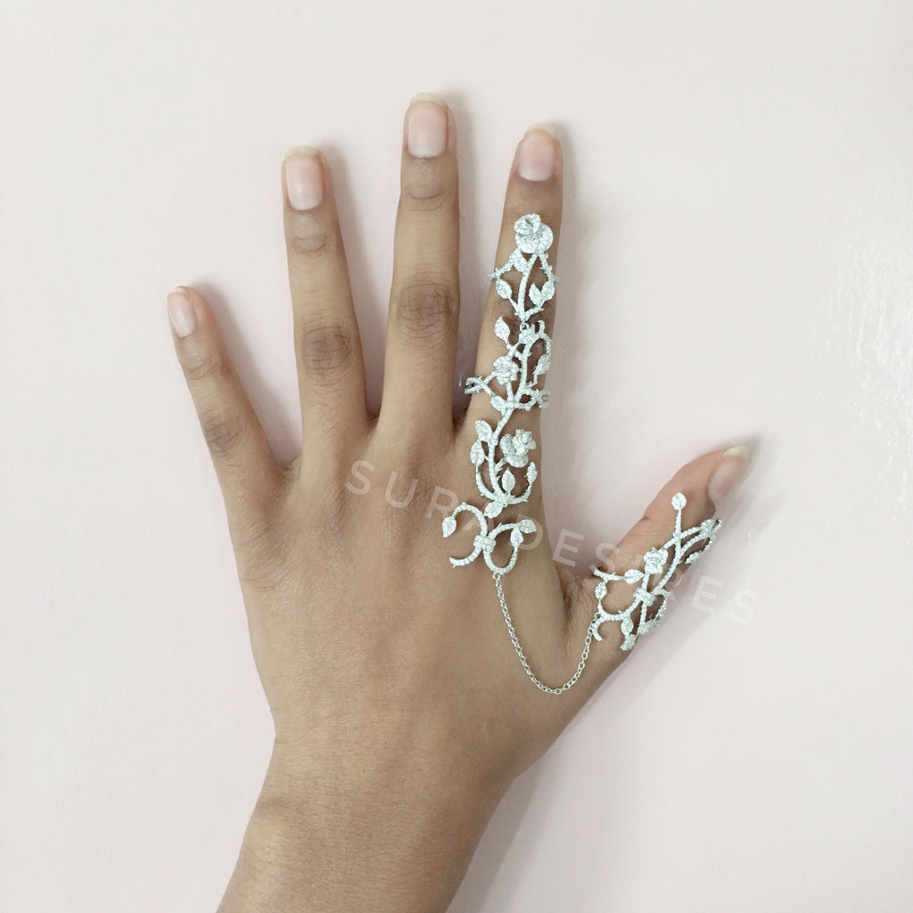 Silver Full Finger Chain Ring-Suradesires-Suradesires