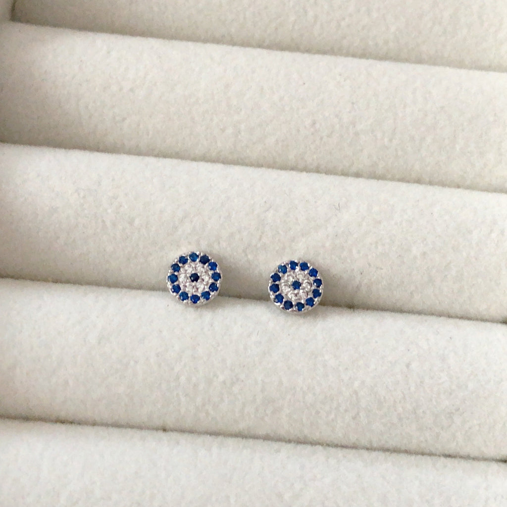 925 Evil Eye Stud Earrings-Suradesires-Suradesires