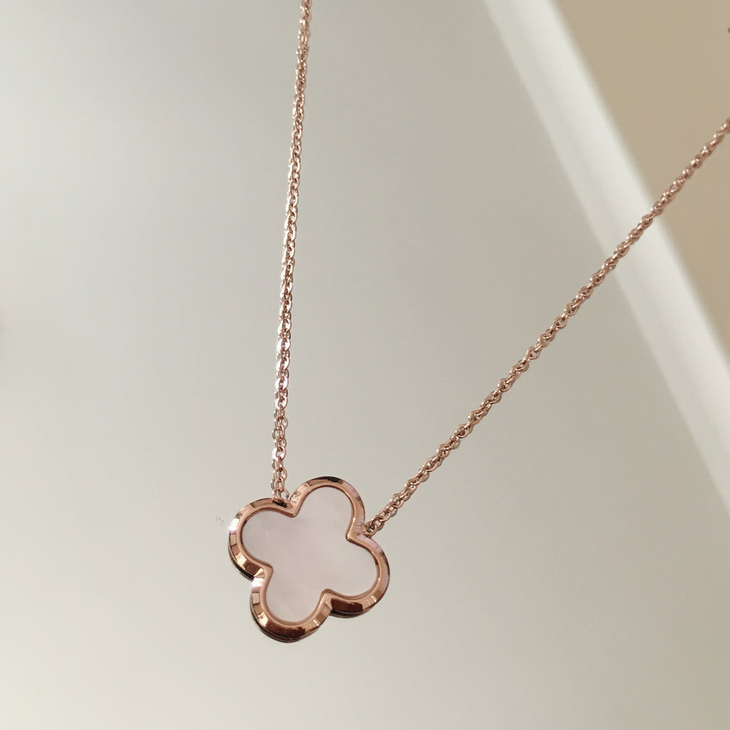 Rose Gold Clover Necklace-Suradesires-Suradesires