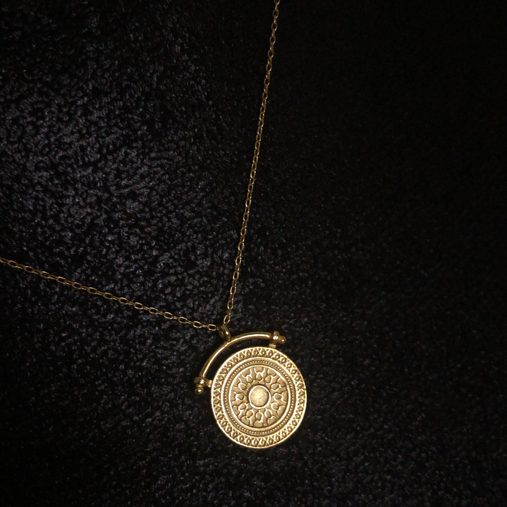 Mandala Disc pendant necklace - 925 Sterling Silver-Suradesires-Suradesires