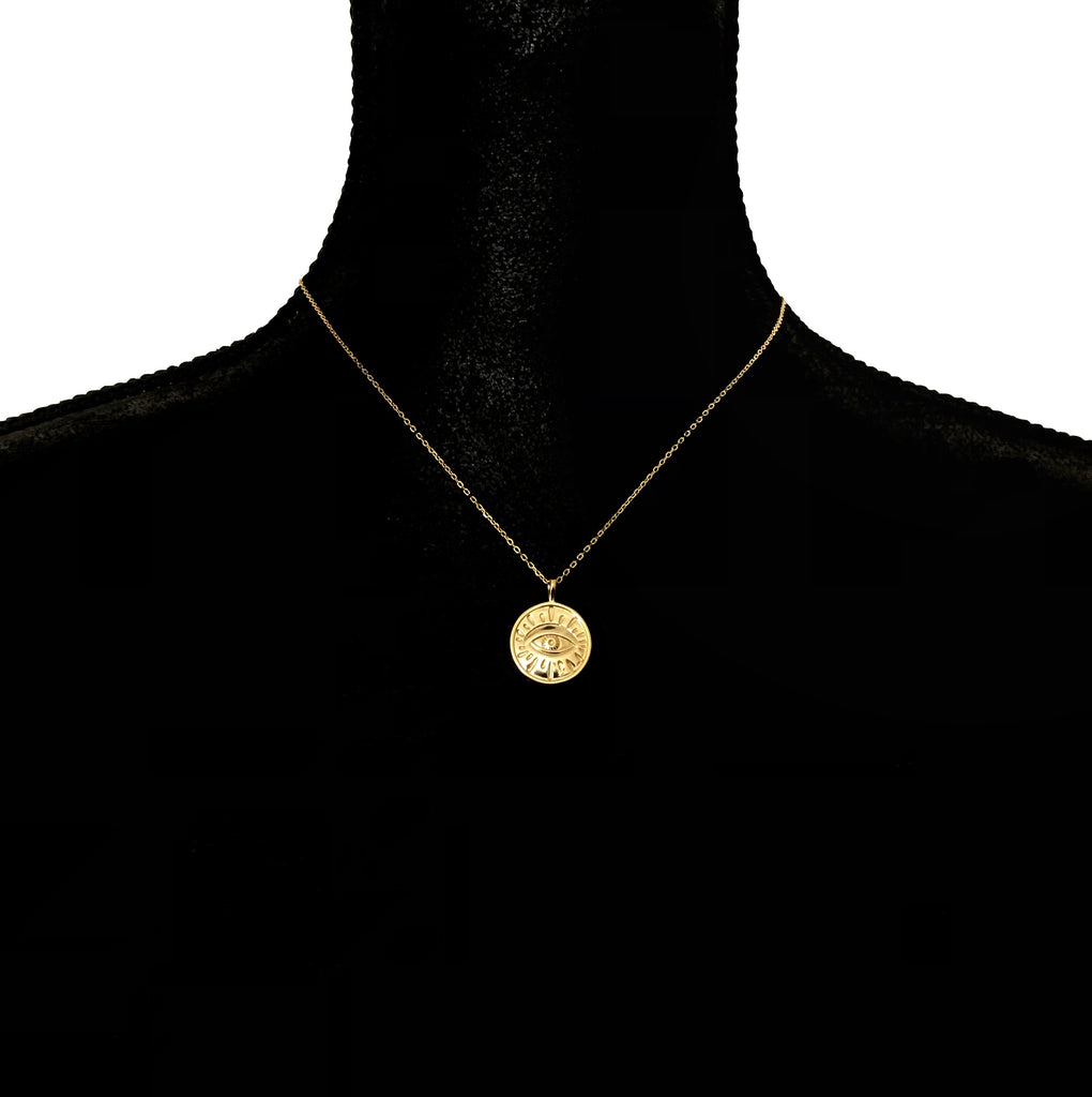 Golden Eye Disc pendant necklace - 925 Sterling Silver-Suradesires-Suradesires