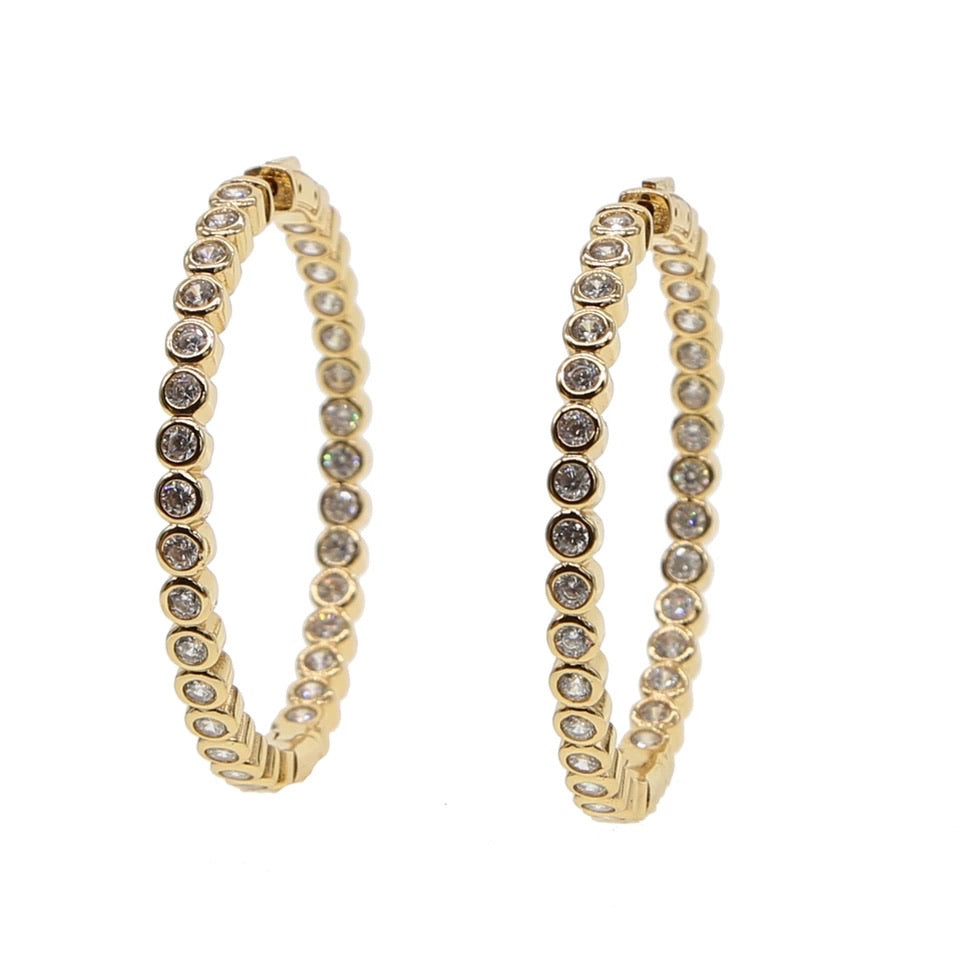 Crystal Hoop Earrings - 5cm-Suradesires-Gold-Suradesires