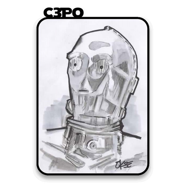 C3Po Hand Drawn A6 Sketch Card