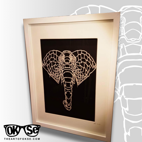 Bio Organic Elephant Paper Cutting Template.