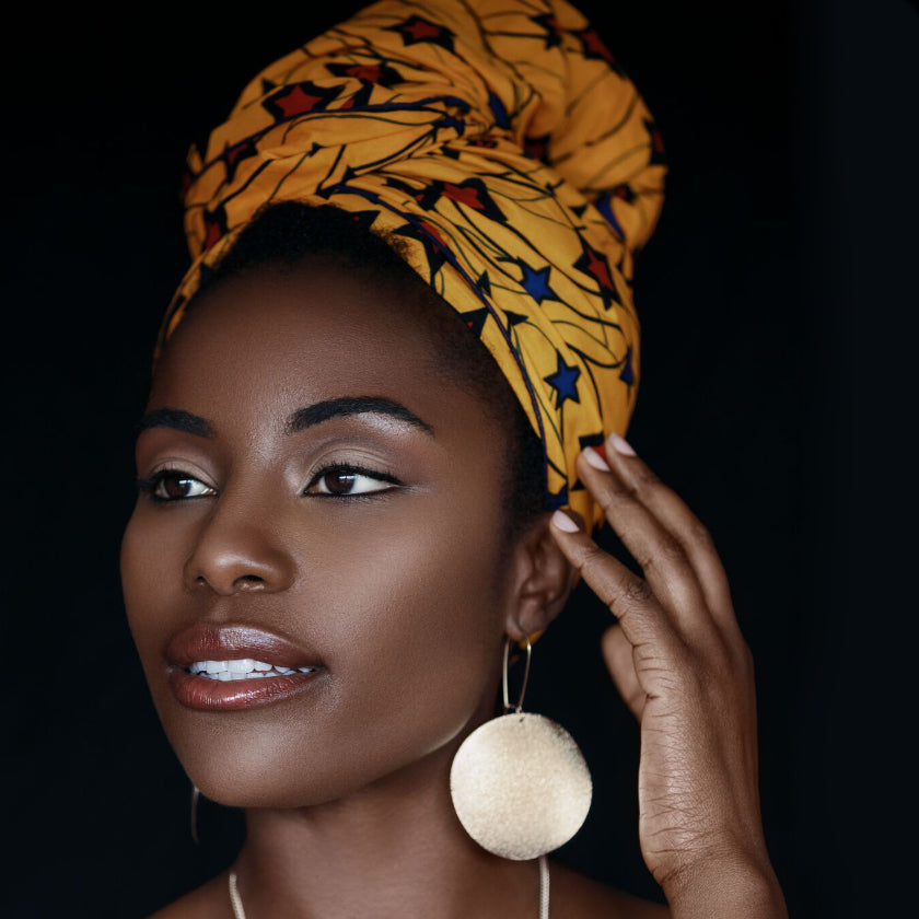 African Head Wraps.  Model: Deanne Roye. How to tie a headscarf