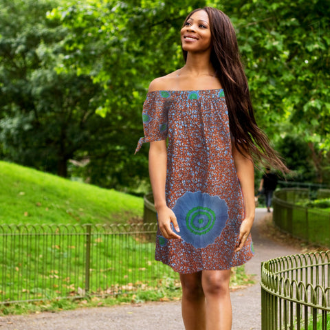 Off The Shoulder African Print Dress
