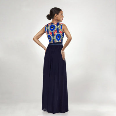 African Print Chiffon Gown Back