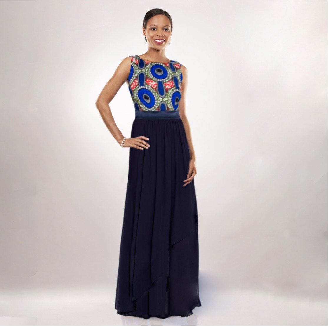 African Print Chiffon Gown Front