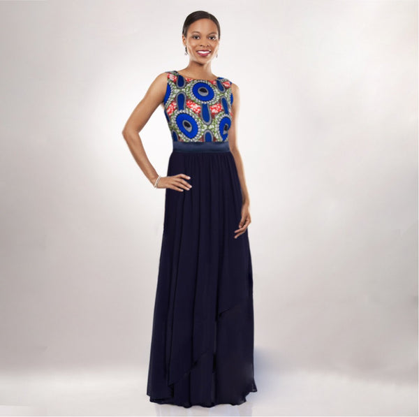 African Print Chiffon Gown