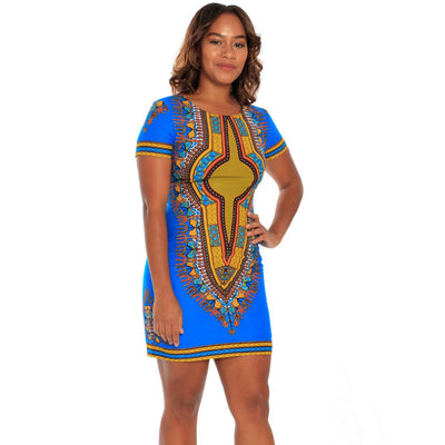Dashiki Blue or Red Mini Dress