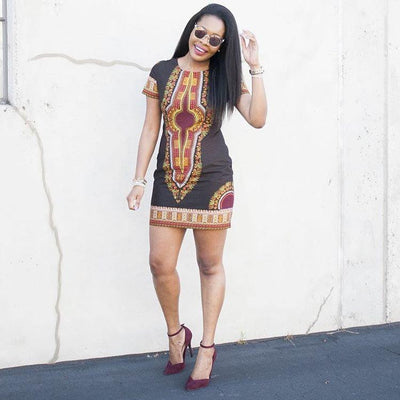 Chocolate Dashiki Mini Dress
