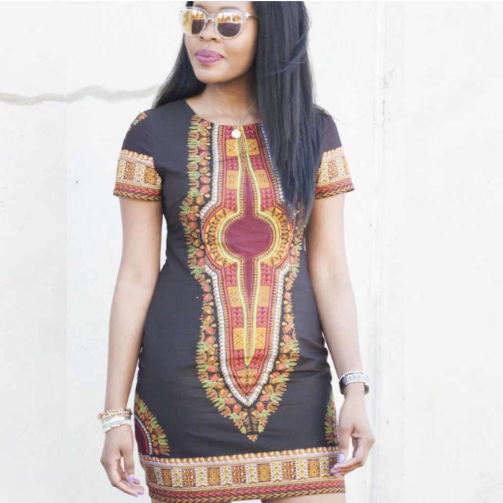 Dashiki Chocolate Mini Dress