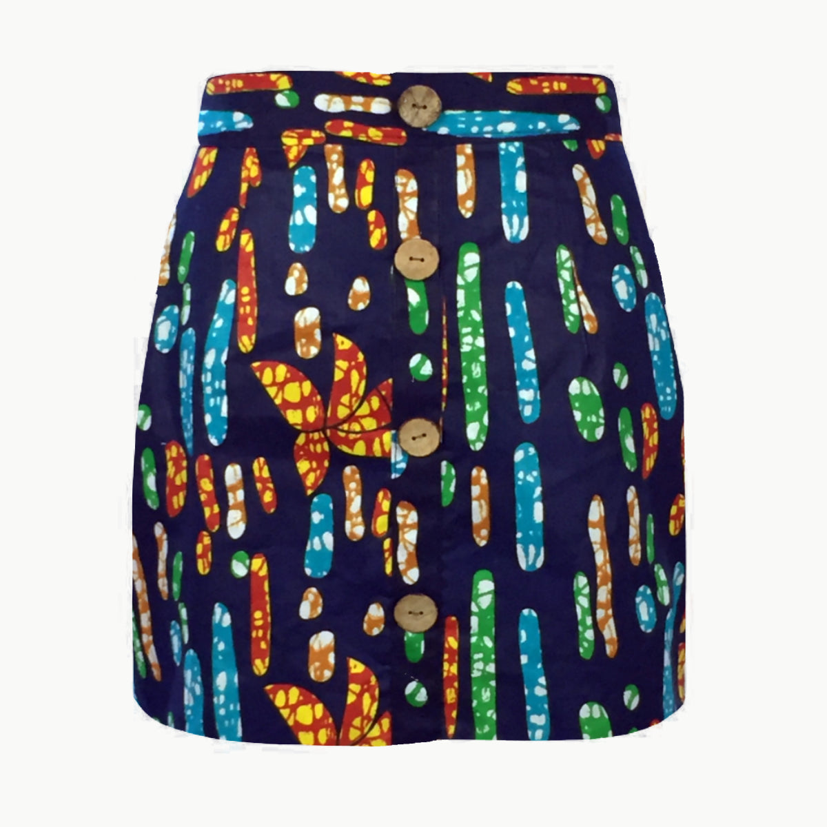 The Dakar Iris African Print A-Line Mini Skirt