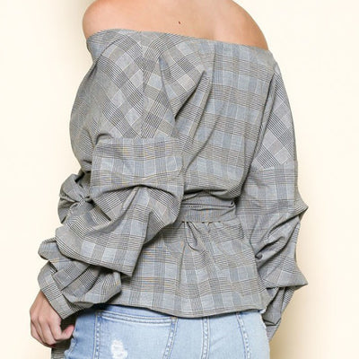 Off the shoulder Gingham Print Wrap Top