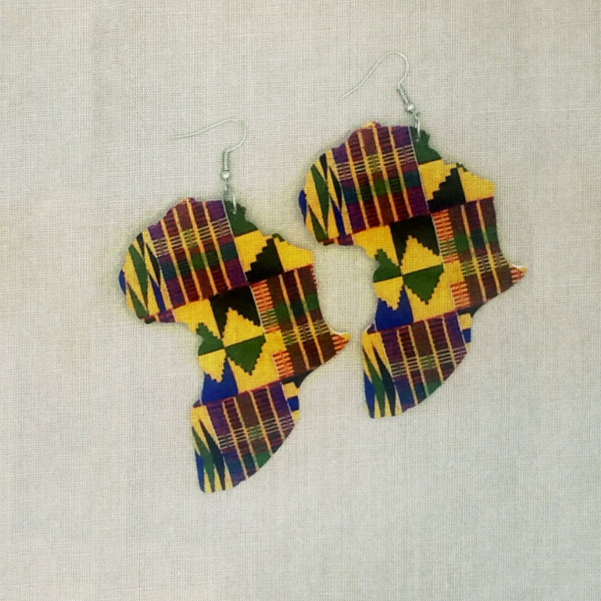 Kente Painted Africa Wooden  Earrings