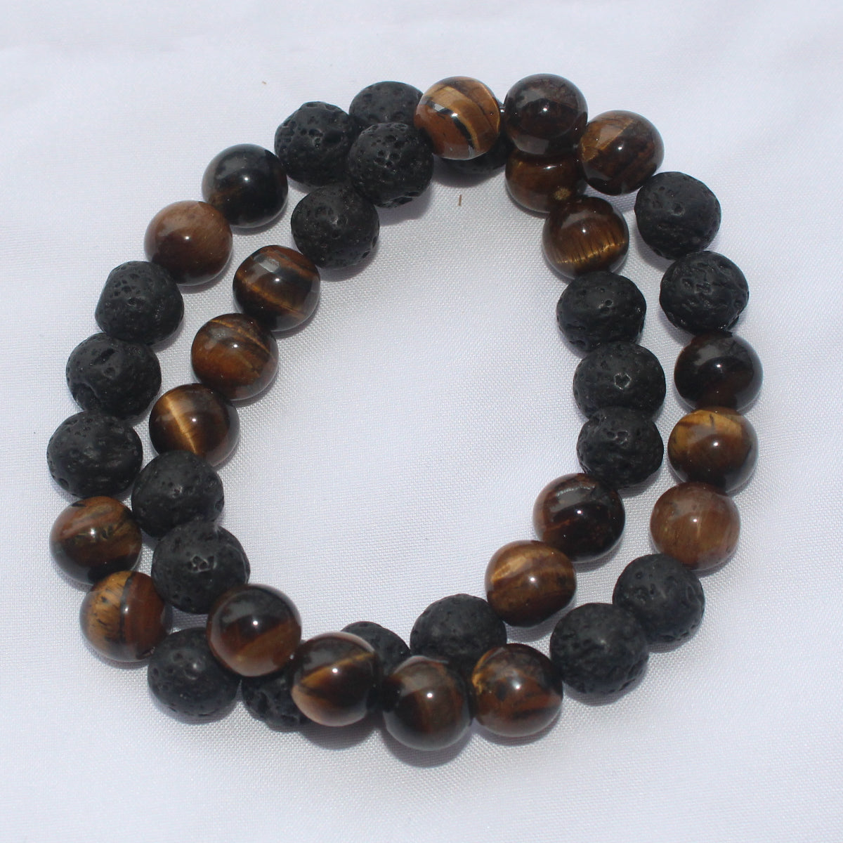 Black Lava and Tiger Eye Beads Bracelet for Men and Women