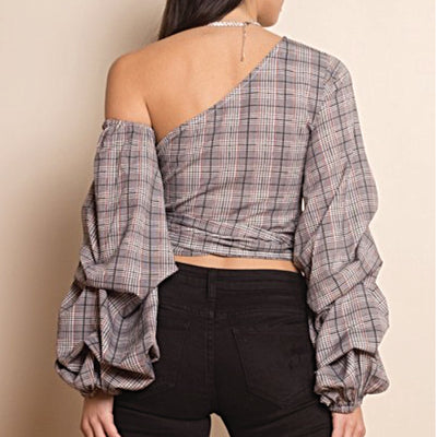 One shoulder Plaid Wrap Top