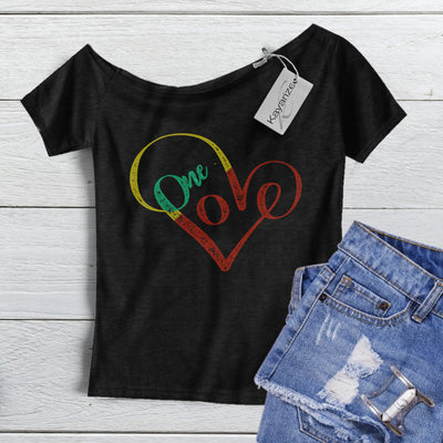 One Love, One heart Off the Shoulder Tee