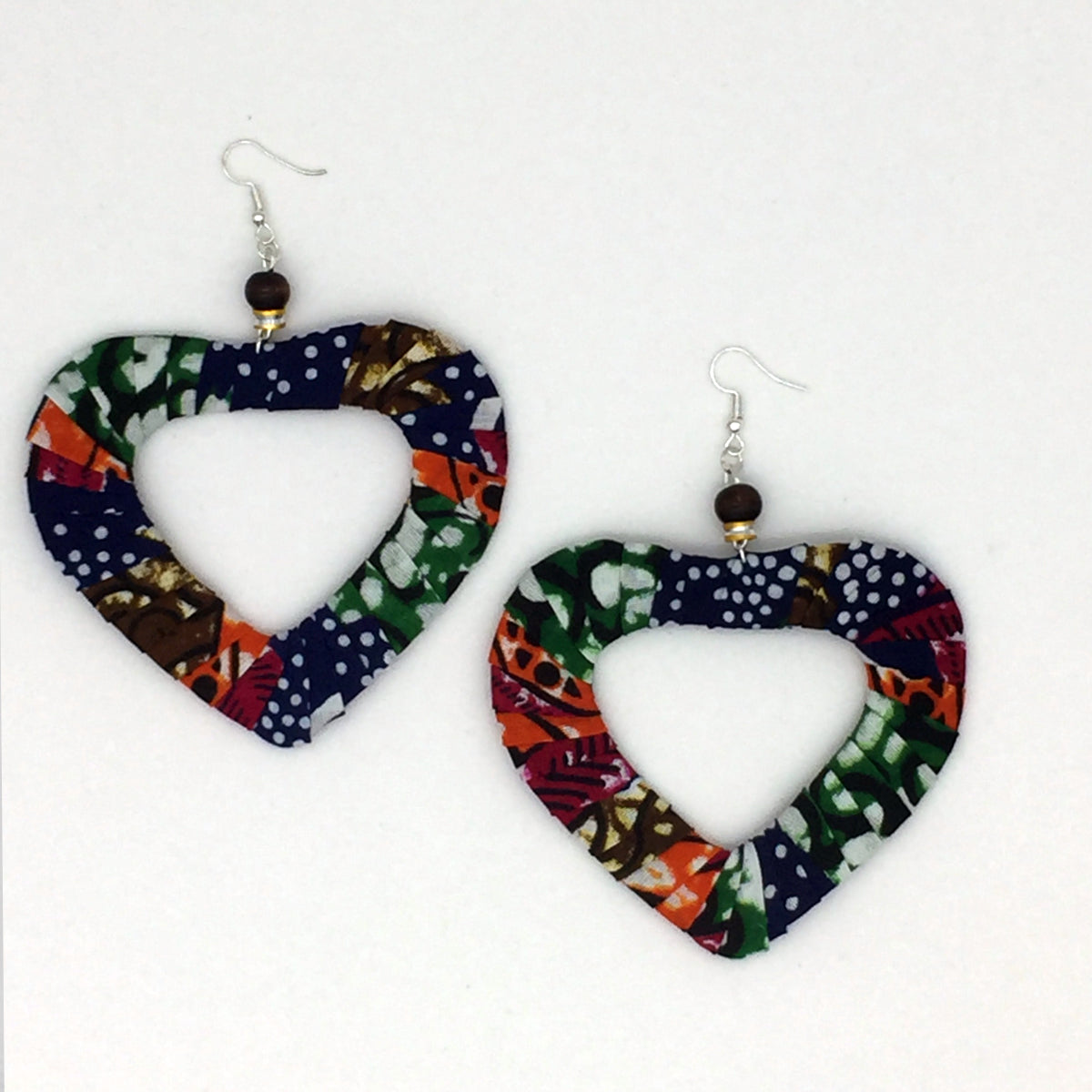 African Print Fabric Heart Earrings