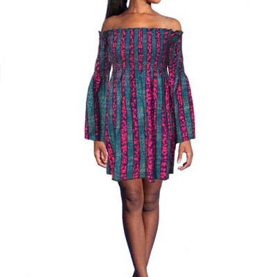 African Print Stripe Dress