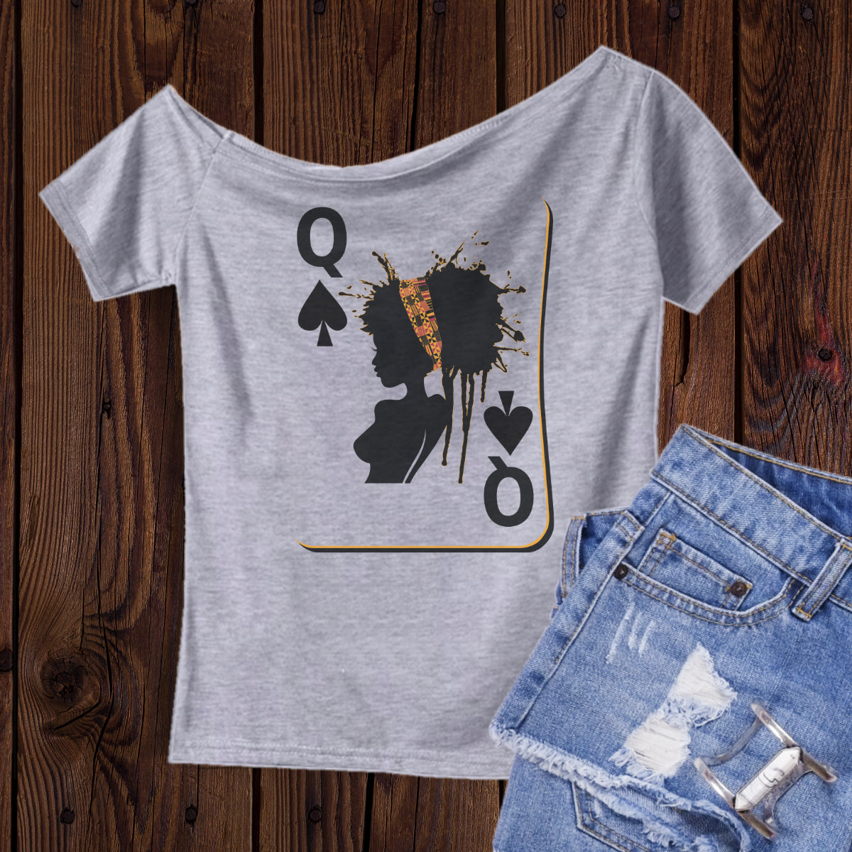 Queen of Spades - Off the shoulder tee