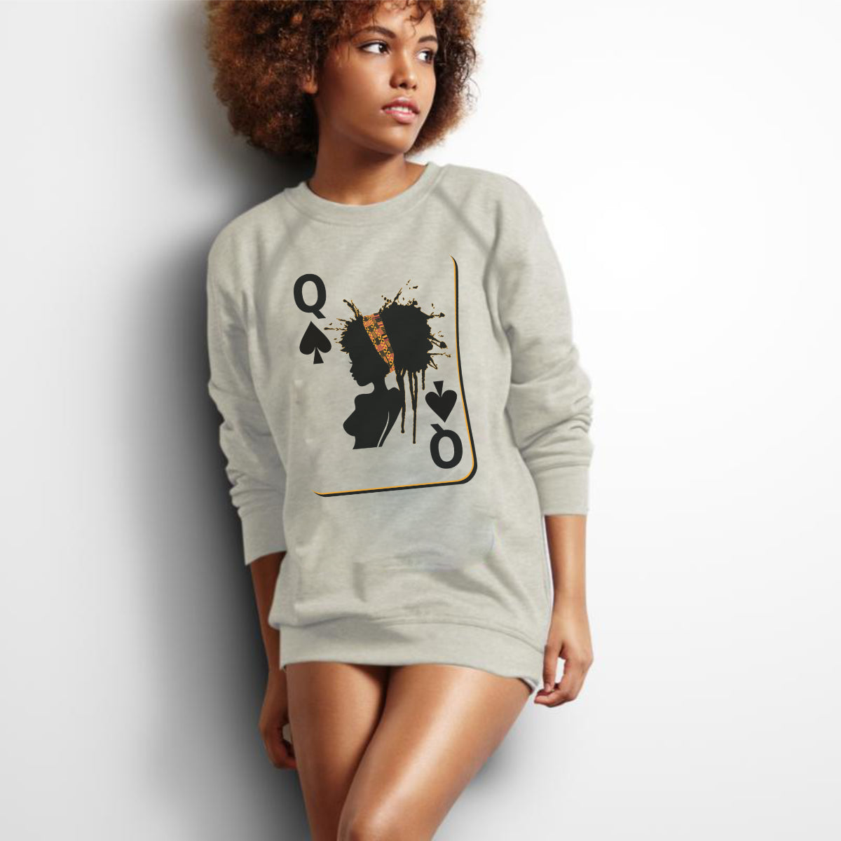 Queen Card -  Women's French Terry Sweater